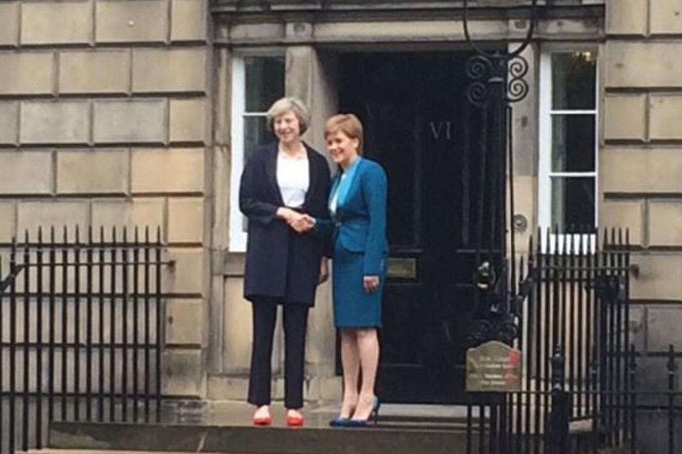 Theresa May & Nicola Sturgeon outside Bute house, Edinburgh