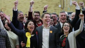Sarah Olney celebrates victory in Richmond Park